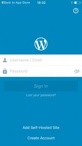 Wordpress App sign-in screen